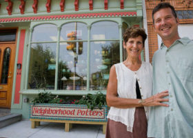 Sandi Pierantozzi and Neil Patterson of Neighborhood Potters, 2034 Fairmount Ave in Philadelphia are photographed in front of their studio on Thursday, September 3, 2015. Funding from various sources allowed them to renovate the exterior of this building.  ( ALEJANDRO A. ALVAREZ / Staff Photographer )